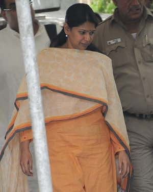 Kanimozhi, Rajya Sabha MP and daughter of former Tamil Nadu Chief Minister M Karunanidhi, at Patiala House court in New Delhi on May 20, 2011. The Metropolitan Magistrate's court rejected her bail application and sent her into Judicial custody.UNI PHOTO