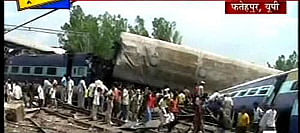 A TV grab of Kalka mail, which derailed at Fatehpur-Kanpur (UP) on July 10, 2011. UNI PHOTO