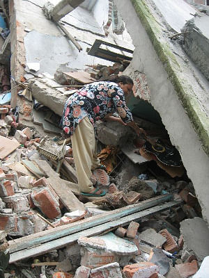 A view of the devastation caused in North Sikkim by the 6.8 magnitude earthquake that struck the region on September 18, 2011.