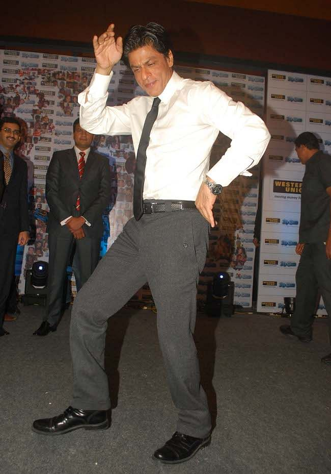 Bollywood superstar Shah Rukh Khan performing on a song from his film