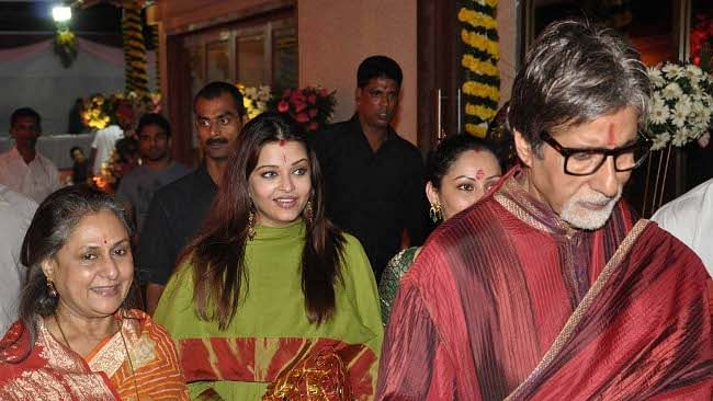 A file photo of Bollywood actor couple  Amitabh Bachchan and Jaya Bachchan with daughter-in-law and actress Aishwarya Rai Bachchan