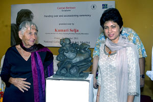Union Minister for Culture Kumari Selja at the handing over and accessioning ceremony of sculptures by American artist Carmel Berkson, in Mumbai on October 7, 2011.