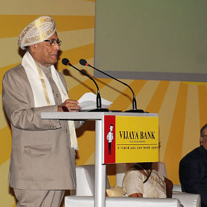 Finance Minister Pranab Mukherjee speaking at the Foundation Day celebrations, of Vijaya Bank in New Delhi on October 21, 2011.