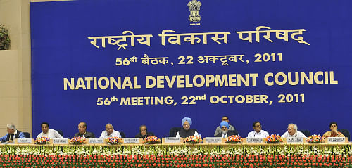 Prime Minister Manmohan Singh at the 56th meeting of National Development Council, in New Delhi on October 22, 2011. The Union Ministers  Kapil Sibal,  P. Chidambaram,  Pranab Mukherjee,  Kamal Nath,  Sharad Pawar, Ghulam Nabi Azad, Ashwani Kumar, the Deputy Chairman, Planning Commission, Montek Singh Ahluwalia, and the Member-Secretary, Planning Commission Sudha Pillai are also seen.