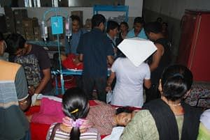 A scene at the North Bengal Medical College Hospital in Siliguri where the injured were brought after a bridge collapsed in Darjeeling late in the evening on October 22, 2011. At least 32 people were killed and more than 90 injured in the incident. UNI PHOTO