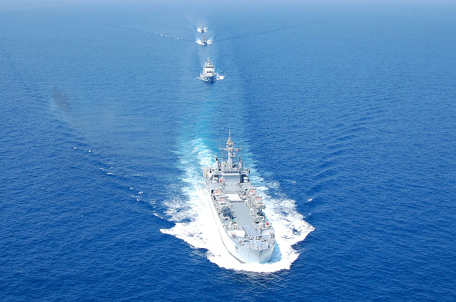Ships participating in PASSEX in the Andaman Sea as part of multilateral naval exercise MILAN 2012, on February 6, 2012.