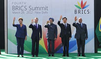 Prime Minister Manmohan Singh with Presidents Dilma Rousseff of Brazil, Dmitry Medvedev of Russia, Hu Jintao of China and Jacob Zuma of South Africa at the fourth BRICS Summit in New Delhi on March 29, 2012.