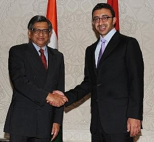 External Affairs Minister S M Krishna meeting United Arab Emirates (UAE) Foreign Minister Sheikh Abdullah bin Zayed al Nahyan in New Delhi on May 18, 2012.