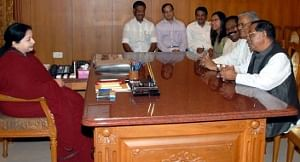 File photo of former Lok Sabha Speaker Purno A Sangma meeting Tamil Nadu Chief Minister J Jayalalithaa in Chennai on May 15, 2012.
