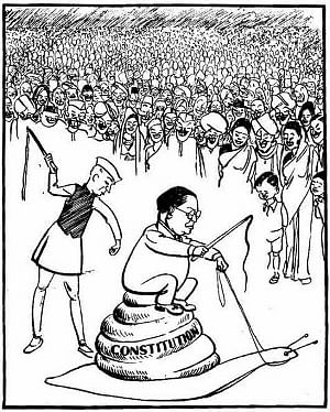 The cartoon from the 1950s by renowned cartoonist Keshav Shankar Pillai, featuring then Prime Minister Jawaharlal Nehru and Dr B R Ambedkar, the architect of the Constiution, which became the subject of a major political controversy earlier this month, forcing the Government to withdraw it from the NCERT Class XI political science textbook.