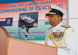 Indian Coast Guard hovercraft H-187 commissioned at Okha in Gujarat