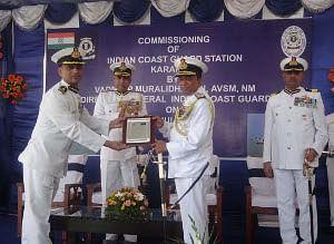 Vice Admiral M.P. Murlidharan, Director General, Indian Coast Guard, commissioning the Coast Guard Station at Karaikal in Puducherry on July 25, 2012