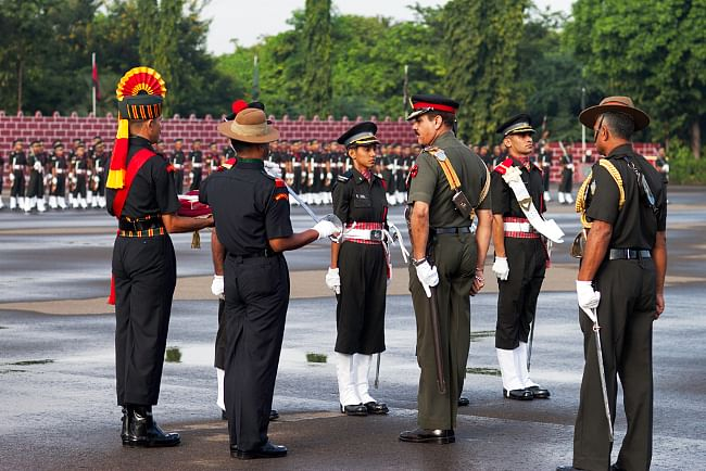 Lt Gen A K Singh, GOC-in-C, Southern Command, presenting the sword of honour to Under Officer S Kapil Du at the Officers' Training Academy in Chennai on September 15, 2012.