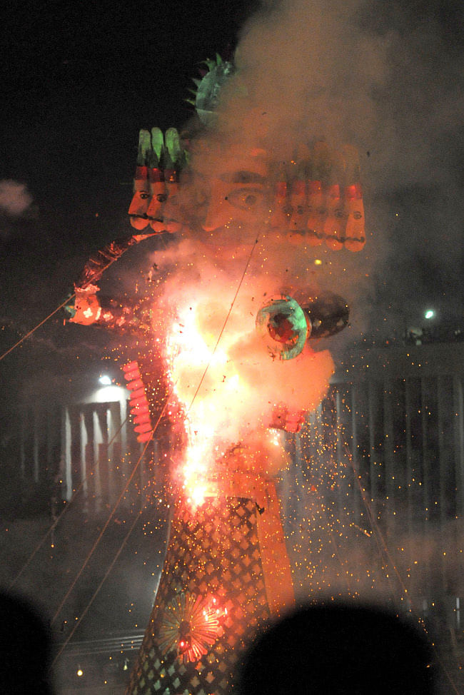 The Ravana effigy in flames, at the Dussehra celebrations, at Ramleela Maidan, on the occasion of Vijay Dashmi, in Delhi on October 24, 2012.