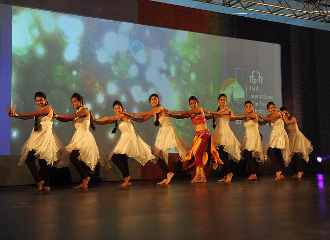Artistes performing at the inaugural ceremony of the 43rd International Film Festival of India, in Panaji, Goa on November 20, 2012.