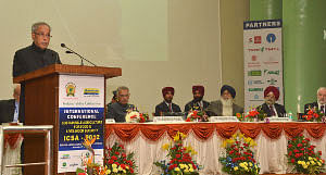 President Pranab Mukherjee addressing the International Conference on Sustainable Agriculture for Food & Livelihood Security, at the Golden Jubilee of Punjab Agriculture University, at Ludhiana on November 27, 2012. Punjab Governor Shivraj Patil and Chief Minister Parkash Singh Badal are also seen.