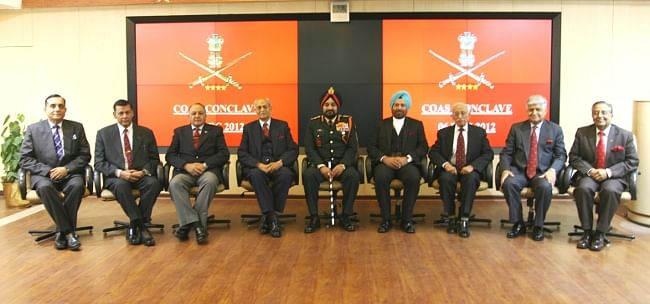 Former Army Chiefs and Chief of Army Staff Gen Bikram Singh at the Fifth Chiefs' Conclave in New Delhi on December 6, 2012.