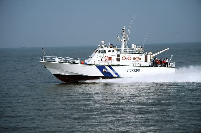 The first indigenously designed and constructed high speed interceptor boat delivered by Larsen & Toubro to the Indian Coast Guard at Porbandar on December 20, 2012.