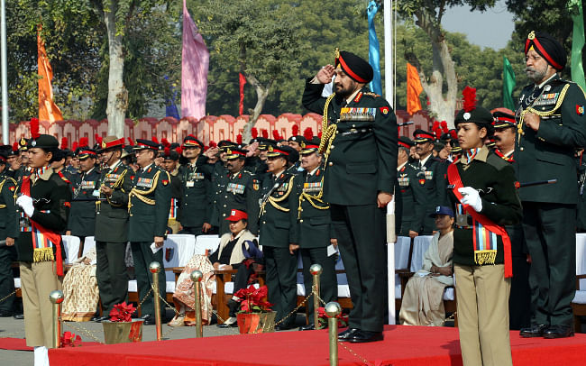 Chief of Army Staff Gen Bikram Singh inspecting a guard of honour during his visit to the National Cadet Corps Republic Day Camp in New Delhi on January 10, 2013