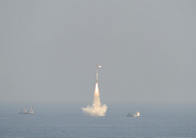 India's first under-water- launched missile B05 being flight tested from the Bay of Bengal off the coast of Visakhapatnam on January 27, 2013.