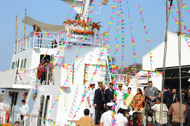 The eighth Inshore Patrol Vessel (IPV) 'Rajdhwaj' built by Garden Reach Shipbuilders & Engineers (GRSE) Limited for Indian Coast Guard launched from Raja Bagan Dock Yard, in Kolkata on January 29, 2013.