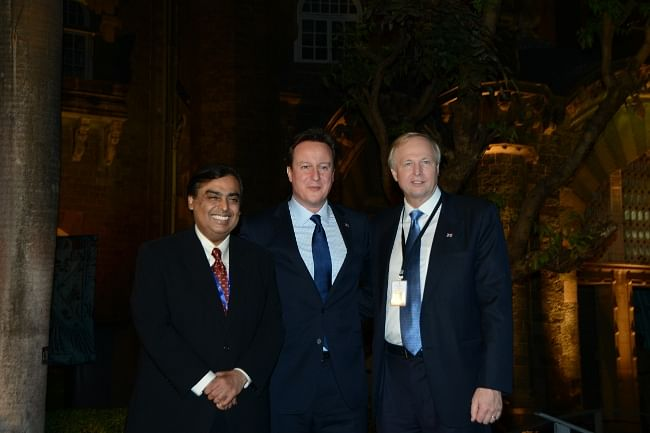 (L to R)  Mukesh Ambani, Chairman & Managing Director, Reliance Industries; David Cameron, British Prime Minister; Bob Dudley, Chief Executive, BP Group at the exclusive exhibition of the Mummy: The Inside Story presented by Reliance Foundation, BP, Chhatrapati Shivaji Maharaj Vastu Sangrahalaya (CSMVS)  and British Museum at CSMVS in Mumbai on February 18, 2013.