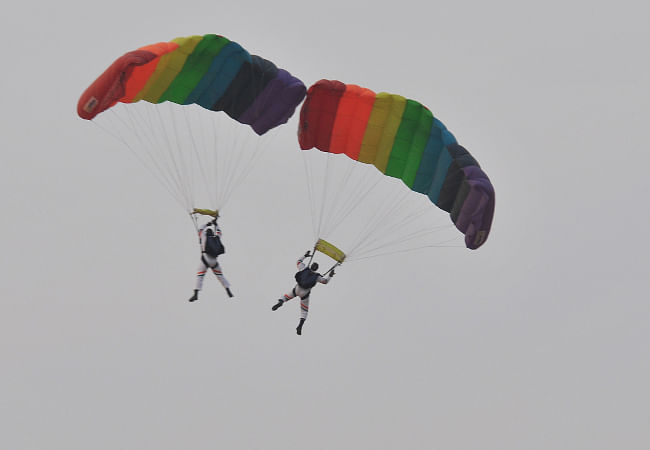 Paratroopers in formation during the Indian Air Force  (IAF) fire power demonstration Exercise 'Iron Fist 2013' at Pokharan, Jaisalmer, Rajasthan on February 22, 2013.