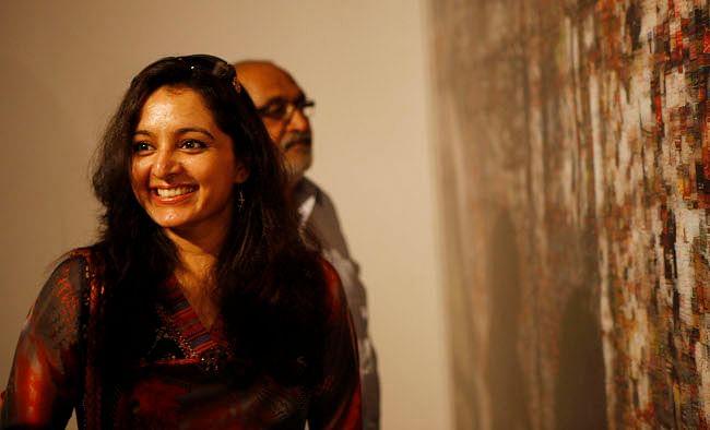 Well-known Malayalam film actress Manju Warrier visiting the Kochi-Muziris Biennale at Kochi on March 12, 2013