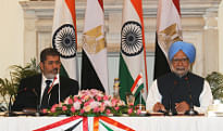 Prime Minister Manmohan Singh and Egyptian President Mohamed Morsy at a joint media interaction, in New Delhi on March 19, 2013.