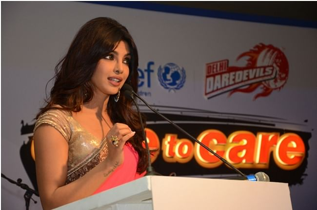 Film actress and UNICEF Goodwill Ambassador Priyanka Chopra at the Osian Art auction and fundraiser dinner to raise funds for adolescent girls under UNICEF's Dare to Care initiative in Delhi on April 19, 2013.