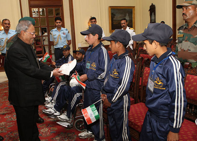 President Pranab Mukherjee meeting differently-abled children from Banihal, Ramban District, Jammu and Kashmir at Rashtrapati Bhavan in New Delhi on May 3, 2013.