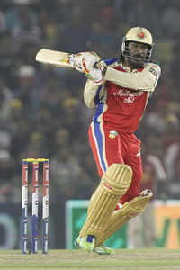 Chris Gayle of Royal Challengers Bangalore in action during their in the Indian Premier League against Kings XI Punjab at Mohali on May 6, 2013. Photo by Deepak Malik-IPL-SPORTZPICS