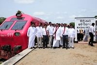 Sri Lankan Minister for Economic Development Basil Rajapaksa and other dignitaries at the commissioning of the reconstructed railway line from Medawachchiya to Madhu Road in the Northern Province at Madhu Road station in Sri Lanka on May 14, 2013.