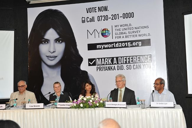 Bollywood actor and United Nations Childrens Fund Goodwill Ambassador Priyanka Chopra launching the mobile application of My World survey, in Mumbai on May 27, 2013.