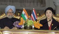 Prime Minister Manmohan Singh and his Thai counterpart Yingluck Shinawatra at a joint media interaction in Bangkok on May 30, 2013