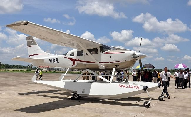 Kerala's first seaplane on its arrival at the Nedumbassery airport in Kochi on May 30, 2013.