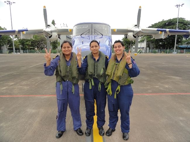 The three women who undertook the Indian Coast Guard's first all-women Dornier flight from Daman on the Western Coast on June 19, 2013