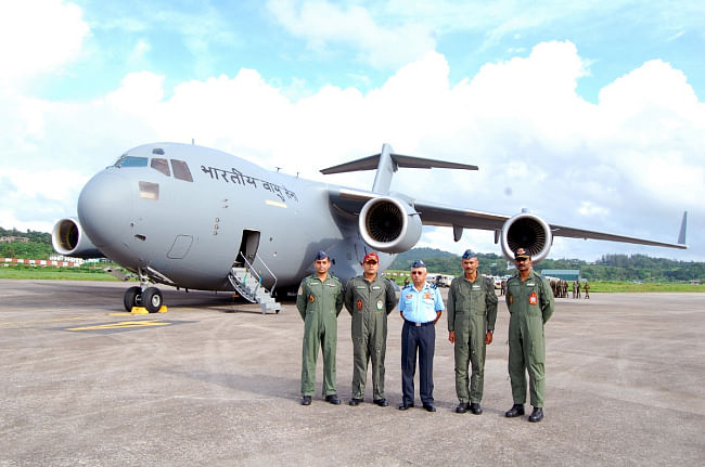 The Indian Air Force's latest acquisition C-17 Globemaster-III in Port Blair after making its maiden flight to Andaman & Nicobar Islands on June 30, 2013.