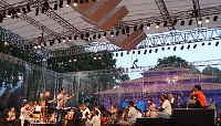 Conductor Zubin Mehta and musicians of the Bavarian State Orchestra rehearse with Kashmiri troupe led by Ajay Sopori in Srinagar on September 6, 2013, a day before the Kashmir Concert.