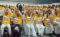 Still going strong...file photo of senior citizens ahead of a half marathon in Delhi
