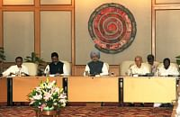 Prime Minister Manmohan Singh chairing the fifth meeting of the National Disaster Management Authority, in New Delhi on October 28, 2013.