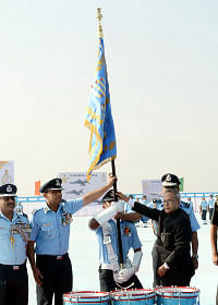 President Pranab Mukherjee presenting the Standard to the 220 Squadron of Indian Air Force, at  a ceremony at Halwara, Punjab on November 20, 2013.