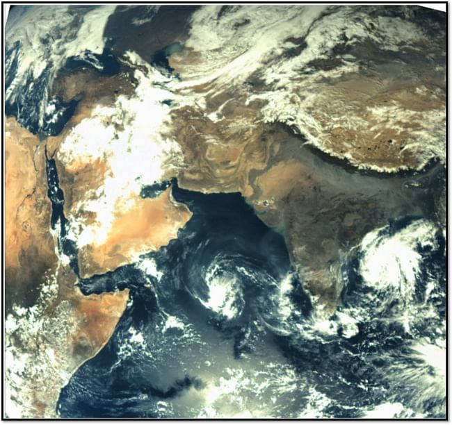 The first image of earth taken by the Mars Colour Camera on board India's Mars Orbiter Mission spacecraft at 1350 hours on November 20 from a height of almost 70,000 km  above the earth, with a spatial resolution of 3.5 km