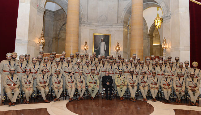 Indian Police Service (IPS) officer trainees of the 65 RR (2012 Batch who called on President Pranab Mukherjee at Rashtrapati Bhavan in New Delhi on January 3, 2014.