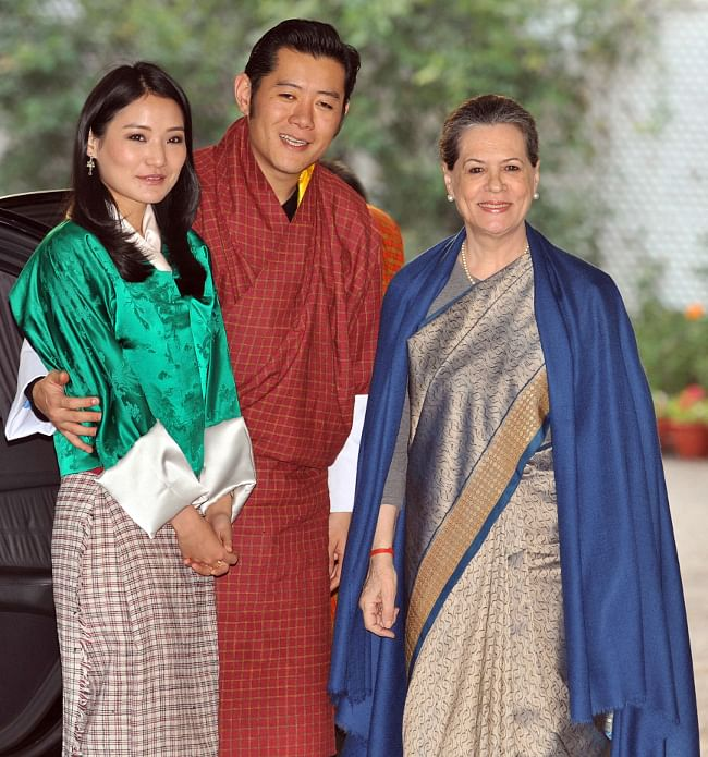United Progressive Alliance (UPA) Chairperson Sonia Gandhi with King Jigme Khesar Namgyel Wangchuk and Queen Jetsun Pema, in New Delhi on January 7 2014.
