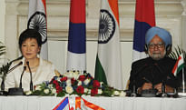 Prime Minister, Dr. Manmohan Singh and President of the Republic of Korea, Ms. Park Geun-hye, at the Joint Press Statement, in New Delhi on January 16, 2014.