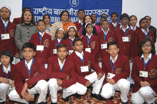 Winners of the National Bravery Awards-2013, at a function, in New Delhi on January 17, 2014.
