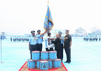 President Pranab Mukherjee presenting the Standard to 112 Helicopter Unit (HU) of Indian Air Force, at Kanpur in Uttar Pradesh on March 11, 2014.