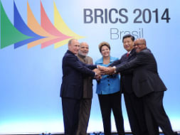 Prime Minister Narendra Modi with Presidents Dilma Rousseff of Brazil, Xi Jinping of China, Vladimir Putin of Russia, and Jacob Zuma of South Africa during the 6th BRICS Summit at Fortaleza in Brazil on July 15, 2014.