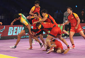 Sandeep Narwal's wonder raid which snatched the match away from the Bengaluru Bulls and took Patna Pirates into the semi-finals of the Star Sports Pro Kabaddi League in Bangalore on August 25, 2014.